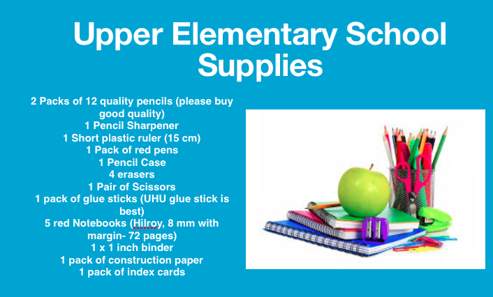 Upper El School Supply List