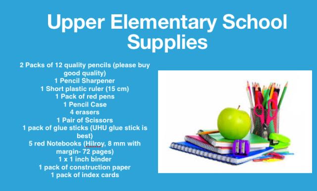 Upper El School Supply List